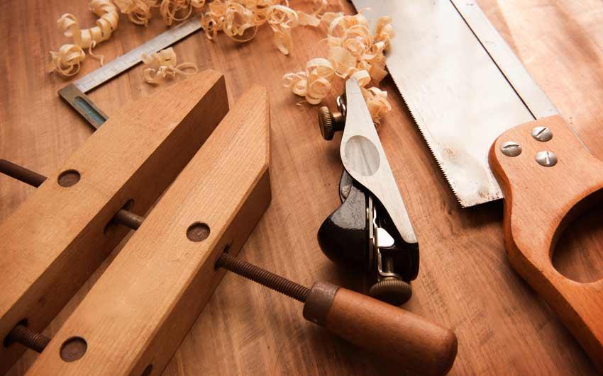 verktyg för hyvlade trägolv, hyvel, såg, tving